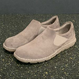 Clark's Tamitha Gwyn Suede Slip On Loafers. Taupe